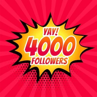 4000 volgers op sociale media posten in komische stijl