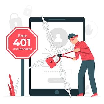 401 fout onbevoegde conceptillustratie