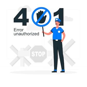 401 fout onbevoegde conceptillustratie Gratis Vector