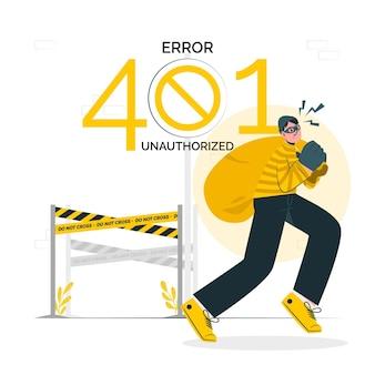 401 fout ongeautoriseerde concept illustratie