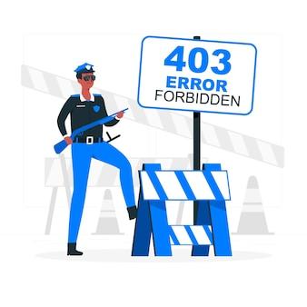 403 fout verboden (met politie) concept illustratie