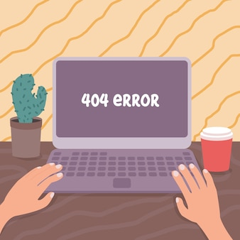 404-fout geen pagina gevonden op computermonitor vectorillustratie werkplek geïllustreerd