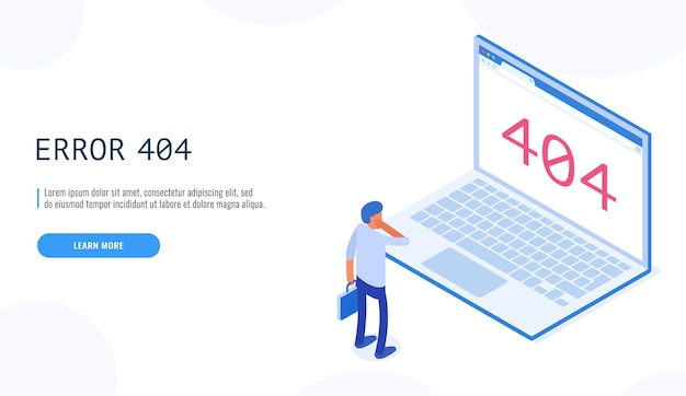 404-fout. man kijkt pagina niet gevonden bericht op laptop display cartoon. klantenservice niet beschikbaar.