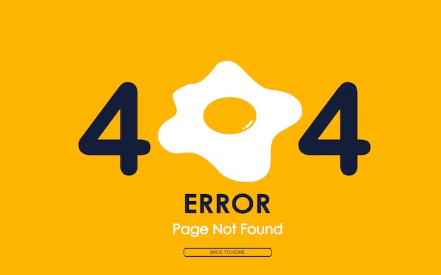 404 fout met gebakken ei op gele achtergrond