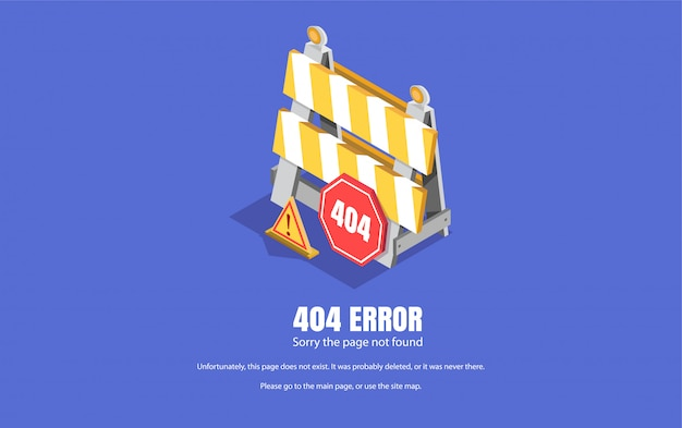 404-fout, reparatiebord. isometrische illustratie, achtergrond voor webpagina's.