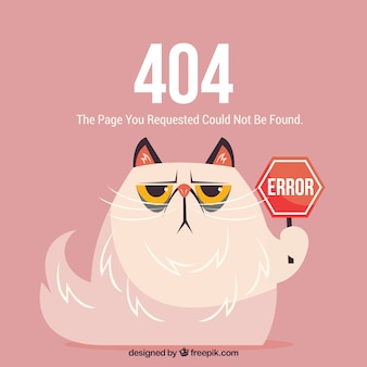 404-fout websjabloon met gekke kat