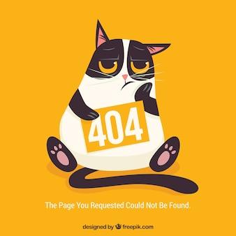 404-fout websjabloon met verveelde kat