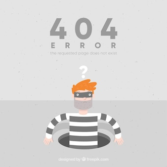 404 foutachtergrond met dief in vlakke stijl