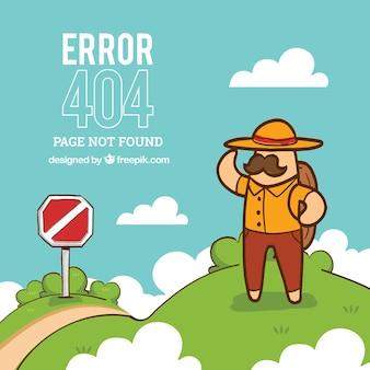 404-foutachtergrond met wandelaar
