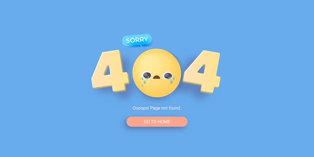404-foutbannerpagina met huilende smiley