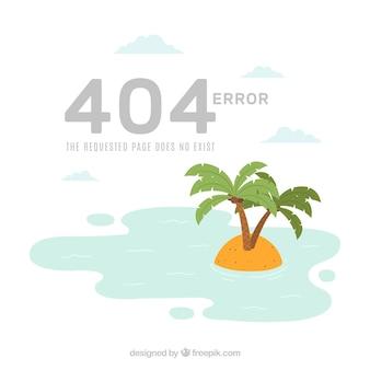 404-foutenachtergrond met onbewoond eiland in vlakke stijl