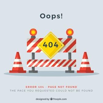 404 foutontwerp met wegwerkzaamheden