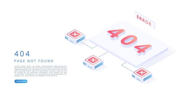 404-foutpagina in isometrische vectorillustratie 404-foutwebsite-onderhoudspagina niet gevonden concept