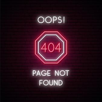 404 foutpagina niet gevonden concept neonbord.