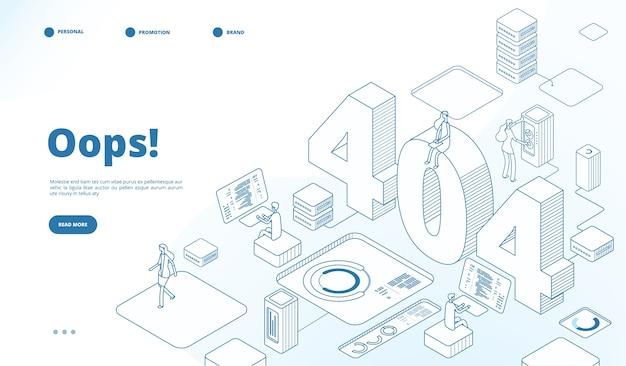 404 isometrische paginasjabloon