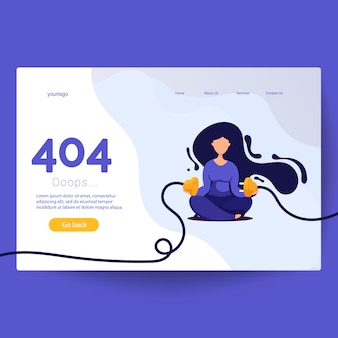 404 pagina niet gevonden fout. vrouw afgesloten stekker en stopcontact
