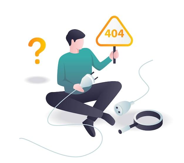 404-probleem opgelost in isometrische illustratie