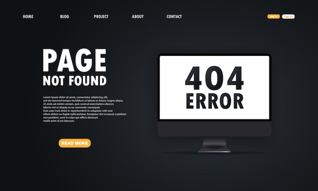 404-symbool op het computerscherm