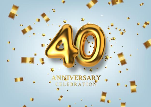 40e verjaardagsviering nummer in de vorm van gouden ballonnen.