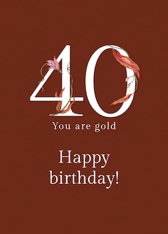 40e verjaardagswenssjabloon met illustratie van bloemennummer