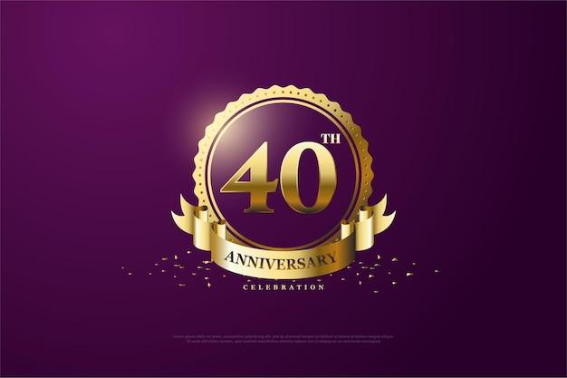 40ste verjaardag achtergrond met gouden cijfers en logo's op paarse achtergrond.