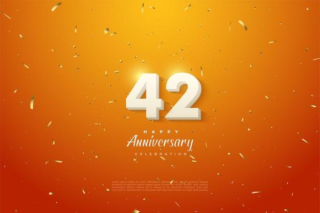 42e verjaardag met witte cijfers in de wolken