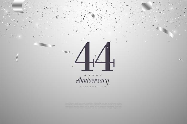 44e verjaardag met vallende zilveren cijfers en linten