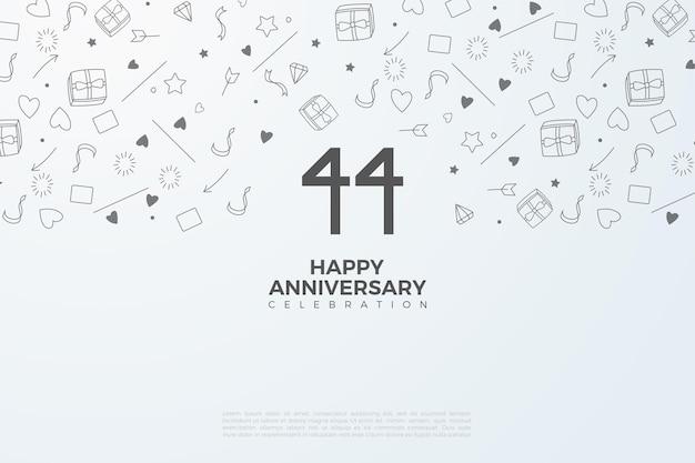 44e verjaardag met zwarte cijfers op een witte achtergrond