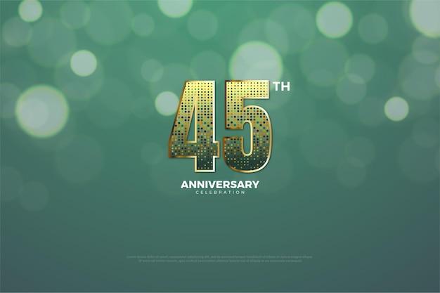 45-jarig jubileum met gouden glitter die 3d-dimensionale figuren vormt.