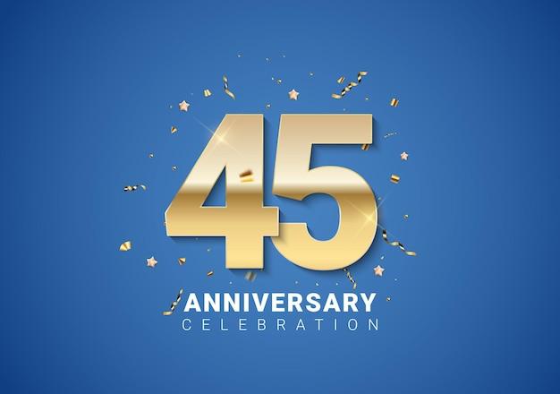 45 verjaardag achtergrond met gouden cijfers, confetti, sterren op heldere blauwe achtergrond. vectorillustratie eps10