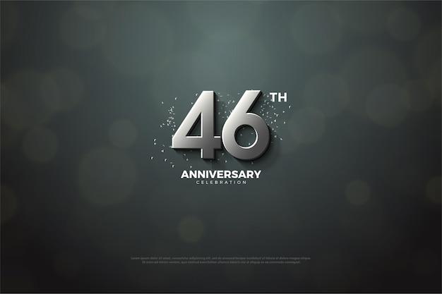 46e verjaardag viering achtergrond met zilveren cijfers