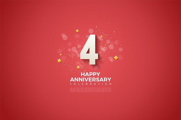 4e verjaardag met dikke witte 3d nummer illustratie.