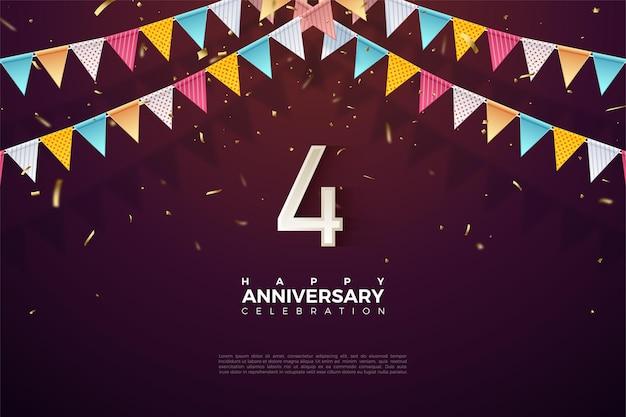 4e verjaardag met nummer illustratie onder kleurrijke vlag.