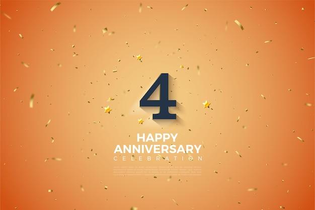 4e verjaardag met zachte wit gearceerde nummer illustratie.