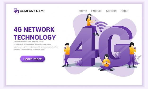 4g-netwerkpagina voor draadloze technologie.