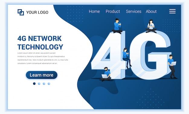 4g-netwerktechnologieconcept. internet systemen telecommunicatiedienst. mensen zitten en staan op het grote 4g-symbool met behulp van high speed wireless connection 4g.