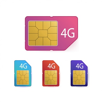 4g sim-kaartenset. symbool voor mobiele telecommunicatietechnologie.