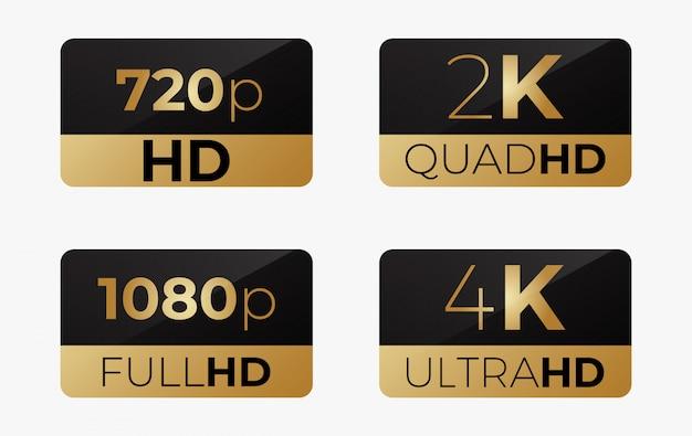 4k ultrahd, 2k quadhd, 1080 fullhd en 720 hd stikers