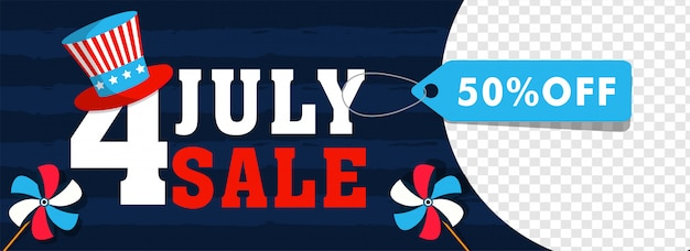 4th of july, independence day sale header of banner design met
