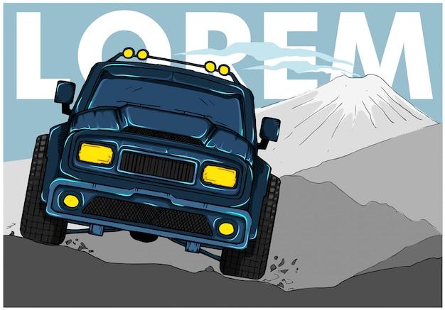 4x4 off-road avontuurlijke auto kruist rotsbergen.