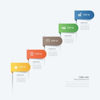 5 data stap infographics tijdlijn tabblad papier indexsjabloon.