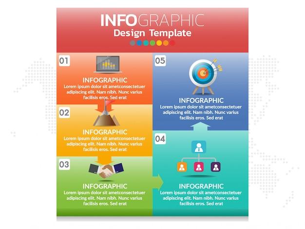 5 delen infographic van bedrijfsconcept met opties, stappen of processen.