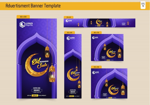 5 eid mubarak sale template voor bannersadvertenties