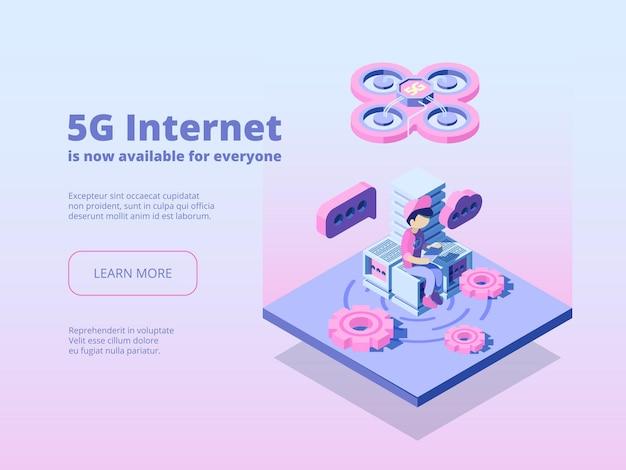 5 g. innovatie online draadloze technologie wereldwijde verbinding uitzendservice wifi-hotspot netwerklanding. wereldwijde internet digitale app voor communicatie door 5g-illustratie
