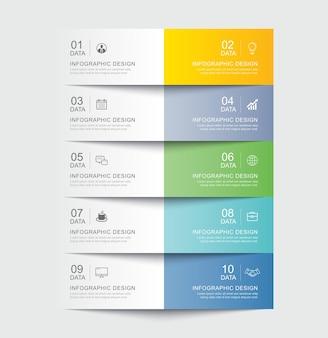 5 gegevensinfographics tabblad papieren indexsjabloon. vector illustratie abstracte achtergrond.