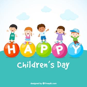 5 gelukkige kinderen op een kinderdag