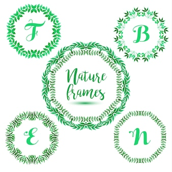 5 groene bloemen frames