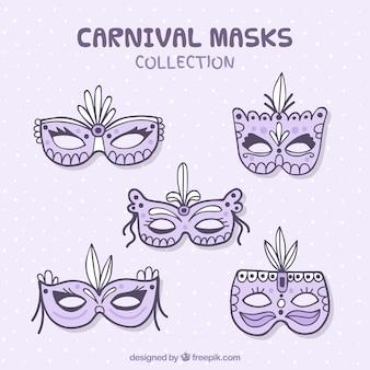 5 hand getekende carnaval maskers