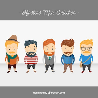 5 Hipster karakters, vector pack