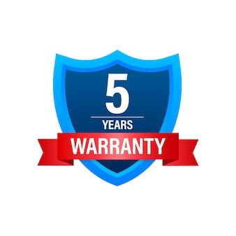 5 jaar garantie. pictogram voor ondersteuningsservice. vector stock illustratie